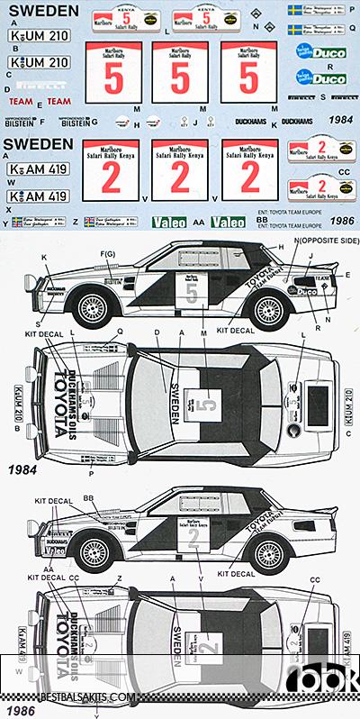 TABU DESIGN 1/24 TOYOTA CELICA TA64 SAFARI RALLY 1984 1986 TRANS