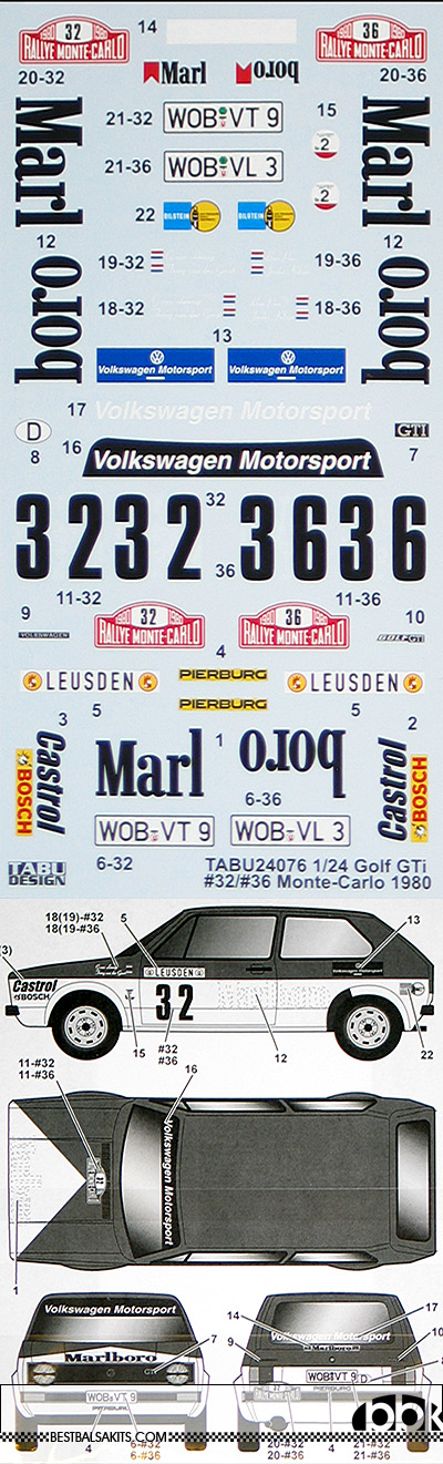TABU DESIGN 1/24 VOLKSWAGEN GOLF GTi MARLBOLO #32 36 MONTE CARLO 80
