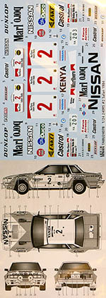 TABU DESIGN 1/24 NISSAN DATSUN 240RS #2 SAFARI RALLY 1984 AOSHIMA