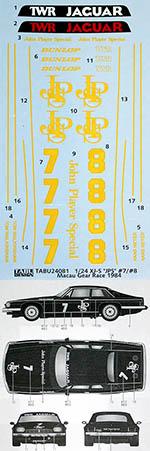 TABU DESIGN 1/24 JAGUAR XJS XJ-S JPS #7 #8 MACAU GEAR RACE 1984