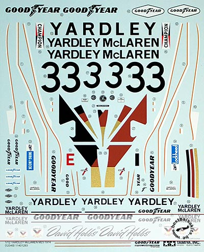 TAMIYA 1/12 REPLACEMENT DECAL 1/12 YARDLEY McLAREN M23 HOBBS