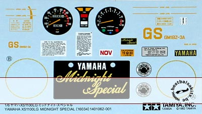 TAMIYA 1/6 TAMIYA REPLACEMENT DECAL 1/6 YAMAHA XS1100