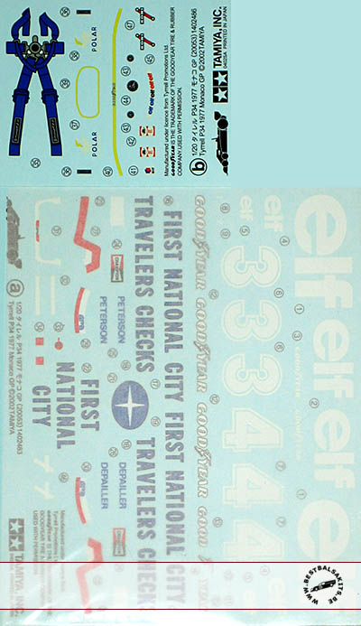 TAMIYA 1/20 P34 SIX WHEELER 1977 NATIONAL CITY ORIGINAL DECAL