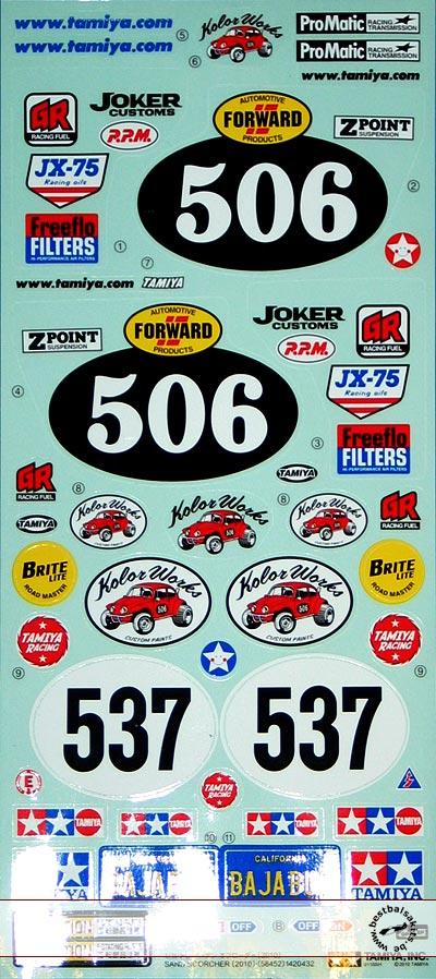 TAMIYA 1/10 REPLACEMENT DECAL SET FOR SAND SCORCHER
