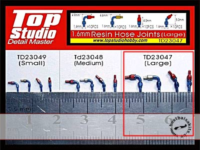TOP STUDIO 1/8 - 1/18 RESIN A/N FITTINGS HOSE JOINTS LARGE 40pc TAMIYA