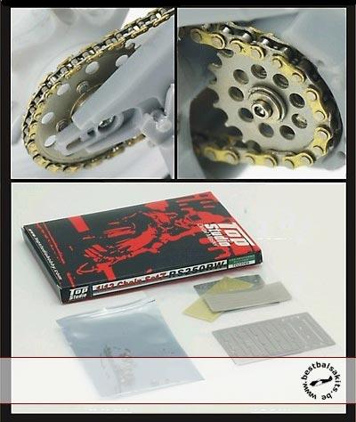 TOP STUDIO 1/12 GOLD CHAIN + PE SPROCKETS HASEGAWA HONDA RS250W