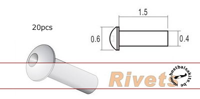 TOP STUDIO  0.6mm ALU RIVETS w HOLE 20PC