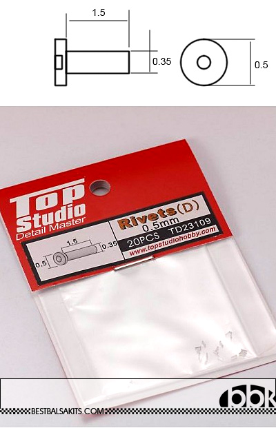 TOP STUDIO NA 0.5mm LOW CYLINDER HEAD ALU RIVET n HOLE 20PCs