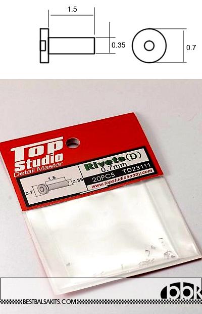 TOP STUDIO NA 0.7mm LOW CYLINDER HEAD ALU RIVET n HOLE 20PCs