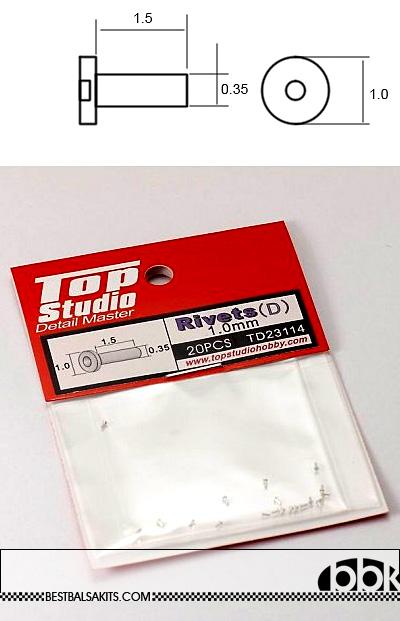 TOP STUDIO NA 1.0mm LOW CYLINDER HEAD ALU RIVET n HOLE 20PCs