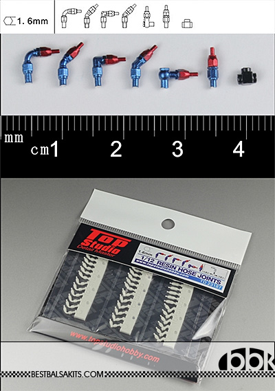 TOP STUDIO 1/12-1/24 1.6mm RESIN A/N FITTING HOSE CONNECTOR for TAMIYA