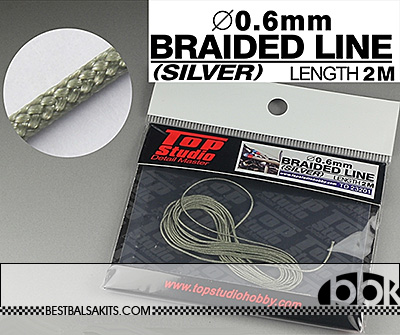 TOP STUDIO 1/12-1/24 0.6mm SILVER COLOURED BRAIDED LINE CLOTH 2m