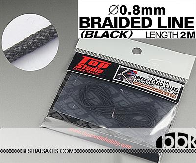 TOP STUDIO 1/12-1/24 0.8mm BLACK BRAIDED LINE CLOTH 2m
