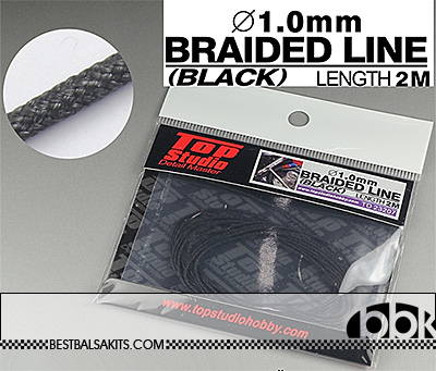TOP STUDIO 1/12-1/24 1mm BLACK BRAIDED LINE CLOTH 2m