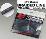 TOP STUDIO 1/12-1/24 1mm BLACK BRAIDED LINE CLOTH 2m
